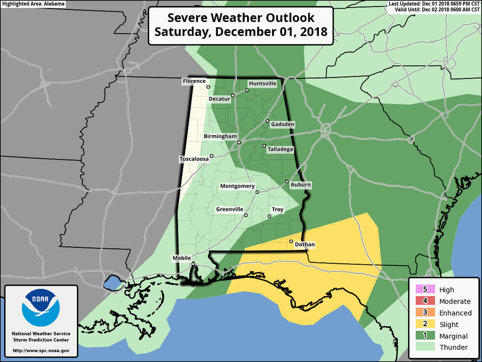 A few strong storms possible in Alabama tonight