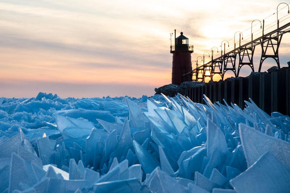 Gorgeous ice shards are piling up along Lake Michigan