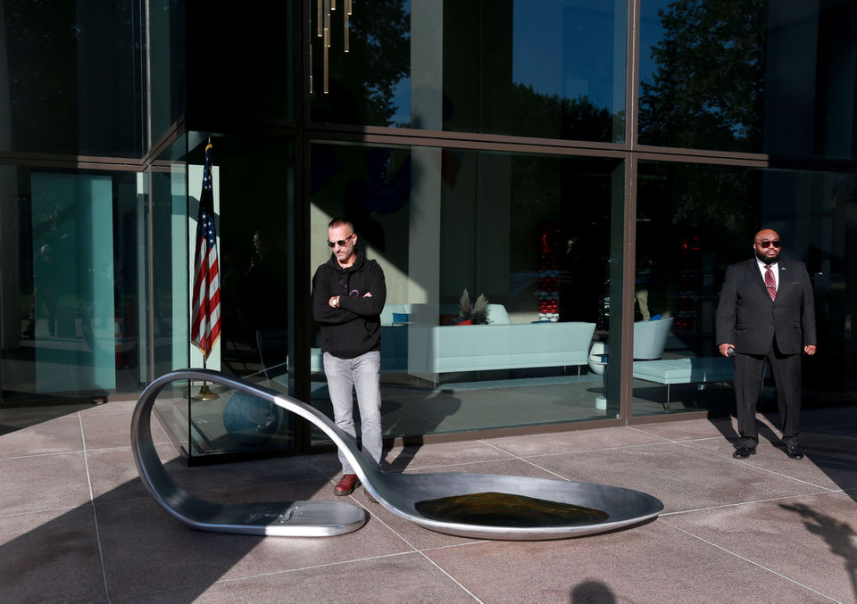 Protestor dropped an 800-pound opioid spoon in front of the Johnson & Johnson HQ