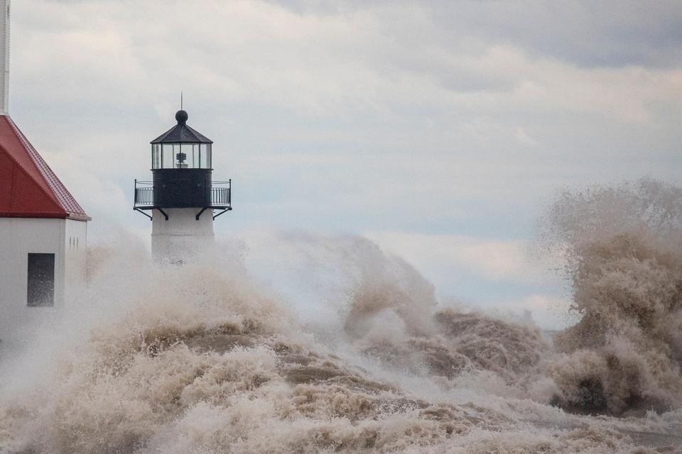 Massive waves pummel Lake Michigan shore during October gale