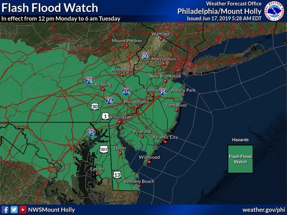 N.J. weather: Flash flood watch issued for severe thunderstorms with heavy rain, gusty winds, hail
