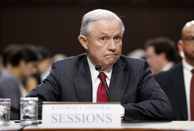 Attorney General Jeff Sessions pauses while speaking on Capitol Hill in Washington, Tuesday, June 13, 2017, as he testifies before the Senate Intelligence Committee. (AP Photo/Alex Brandon)