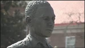 This file photo shows the James Meredith statue on the University of Mississippi campus in Oxford, Miss.