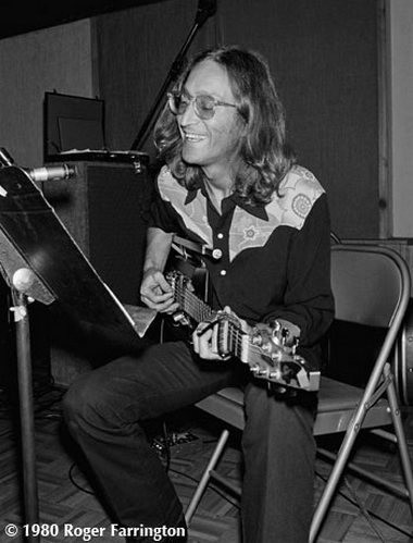 John Lennon playing guitar at the Hit Factory in New York on Aug. 7, 1980. The session marked the former Beatle's return to popular music after a five-year absence.