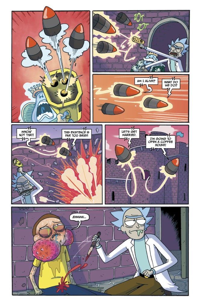 """""""Rick and Morty"""" #17. Illustrated by Marc Ellerby. Colored by Katy Farina."""