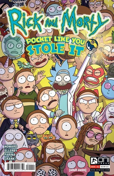 """""""Rick and Morty: Pocket Like You Stole It"""" #1 retail cover. Illustrated by Marc Ellerby with Katy Farina"""