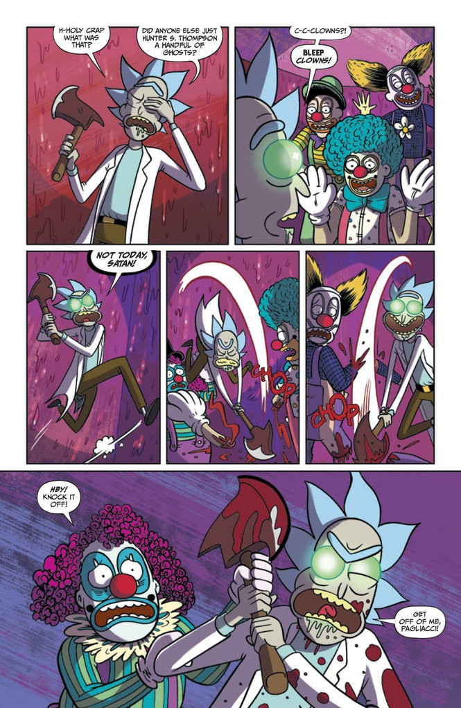 """""""Rick and Morty"""" #24. Illustrated by Marc Ellerby. Colored by Katy Farina."""