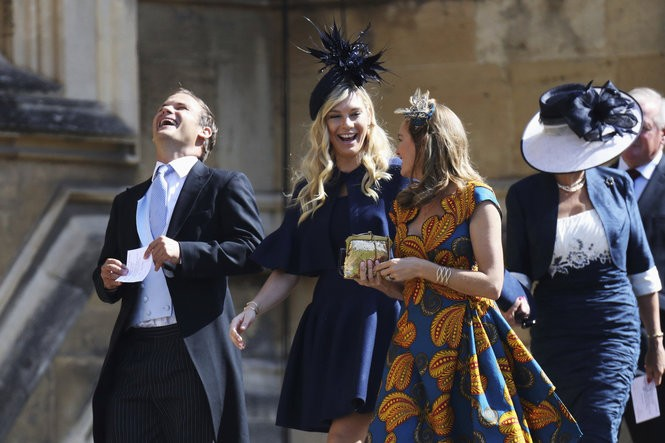 Chelsy Davy, center, arrives for the wedding ceremony of Prince Harry and Meghan Markle at St. George's Chapel in Windsor, England, Saturday, May 19, 2018. (Chris Jackson/pool photo via AP)