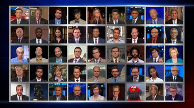 "Former and current correspondents as well as Jon Stewart's favorite targets wished him farewell on the final ""The Daily Show with Jon Stewart."""