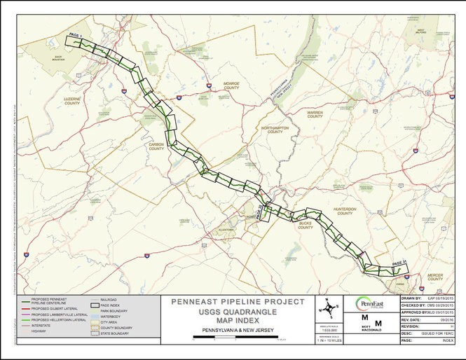 This PennEast Pipeline Co. LLC shows the route of its proposed 116-mile, 36-inch-diameter natural gas line from Luzerne County, Pennsylvania, to Mercer County, New Jersey, as of September 2016, the most recent map available on the energy company consortium's website. Visit penneastpipeline.com for a more detailed version. (Courtesy image | For NJ Advance Media)