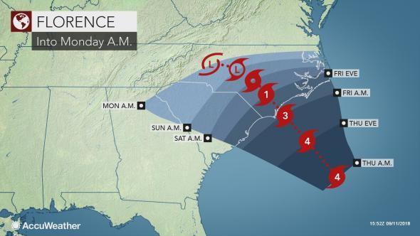 Hurricane Florence track shifts along Carolina coast in