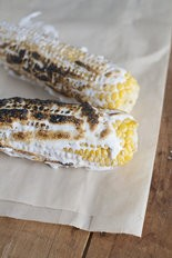 Fresh corn with toasted marshmallow.