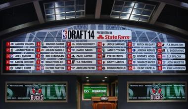 2014 NBA Draft 1st-round board. (William Perlman/The Star-Ledger)