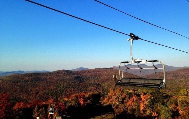 The skyride charlift during fall foilage at Hunter Mountain in the Catskills.