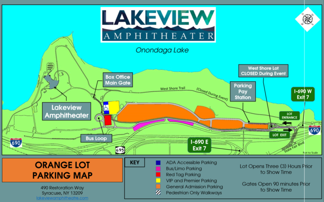 The Lakeview Amphitheater parking map. (Provided by Onondaga County)