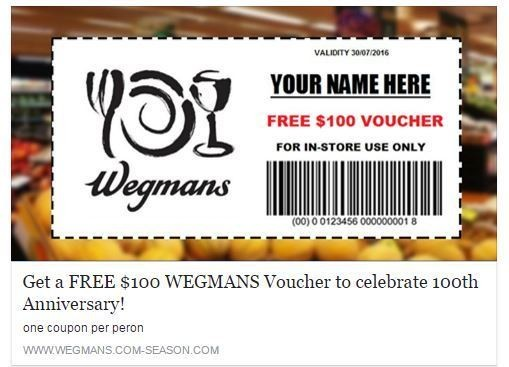 graphic about Wegmans Printable Coupon titled Wegmans: That $100 voucher upon social media is untrue (check out the