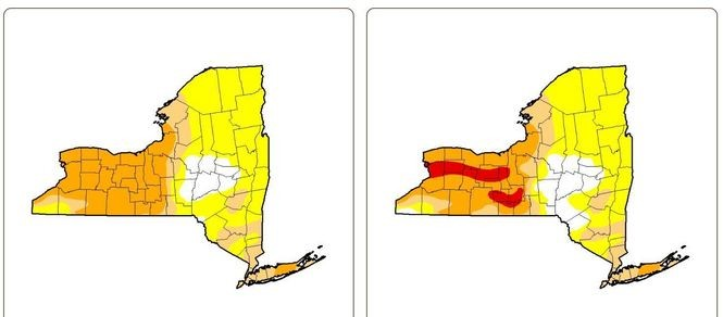 """The drought has worsened this week (right) over last week's status in Upstate New York, with """"extreme drought,"""" in red, appearing for the first time. Orange is severe drought; tan, moderate drought; and yellow, abnormally dry. White means normal conditions."""