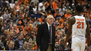 Syracuse coach Jim Boeheim has a word with Tyler Roberson during a game against Pittsburgh on Feb. 20, 2016.