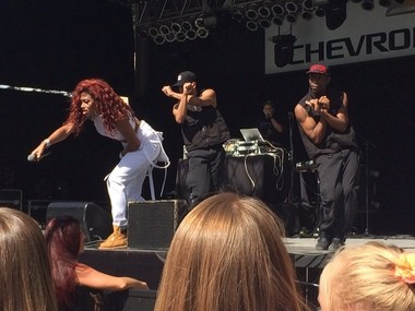 """Natalie La Rose and her back-up dancers perform her 2014 hit """"Somebody"""" at the NY State Fair."""