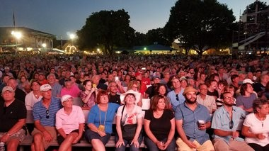 The crowd at Chevy Court awaiting the performance of Brian Wilson Monday, Aug. 29, 2016, at the New York State Fair. Photo by Warren Linhart