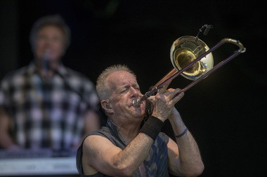 James Pankow blasts his trombone at the NYS Fair's Chevy Court on Monday, Sept. 5, 2016.