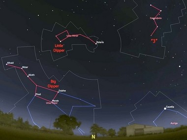 The view looking north at 10 p.m. on September 15, highlighting the two dippers, brightest named stars, and Cassiopeia.