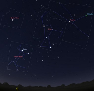 The prominent winter constellations, visible to the south in the early morning this month.