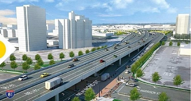 Proposed elevated highway to replace aging I-81 in Syracuse.