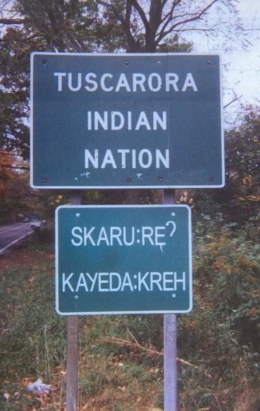 Tuscarora Indian Nation road sign.