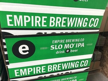 Slo Mo IPA (India Pale Ale) is one of the beers made at the Empire Farmstead Brewery in Cazenovia.