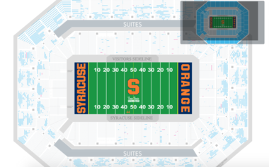 This image shows a ticket map for the Syracuse-NC State game at the Carrier Dome on Saturday. Blue dots indicate available seats.