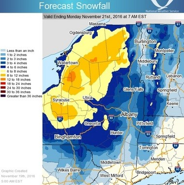 Snowfall forecasts for Upstate New York from tonight through Monday night.