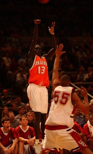 Syracuse's Kueth Duany goes up for a shot against South Carolina in the 2002 NIT.