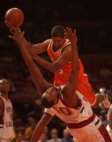 In the second half, it was Syracuse in orange and South Carolina in white.