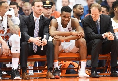 Syracuse freshman Tyus Battle has his foot wrapped with ice during the Orange's win over South Carolina State last Tuesday.