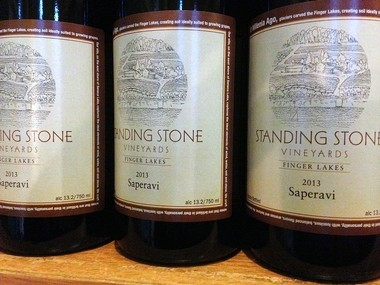 Bottles of Saperavi at Standing Stone Vineyards on Seneca Lake. Sapervi is a highly regarded dry red wine.