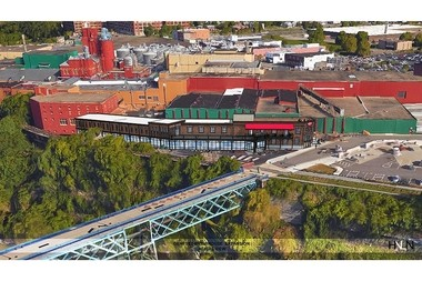 Rendering of the proposed expansion of the Genesee Brewery complex off St. Paul Street overloking the High Falls of the Genesee River in Rochester.