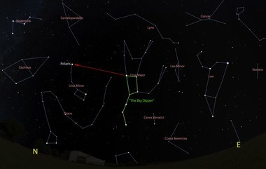 The view looking north at 9 p.m. on March 15. The Big Dipper is marked in green, including an arrow guide to finding Polaris, the North Star. Click for a larger view.