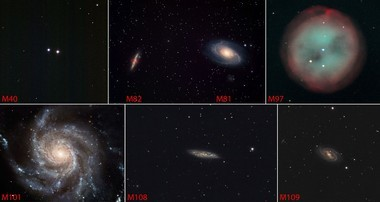 The seven Messier Objects within Ursa Major, including M40 (from NOAO/AURA/NSF), M82 and M81 (ESA/Hubble), M97 (dam Block/NOAO/AURA/NSF), M101 (ESA/NASA), M108 (Hunter Wilson), and M109 (Hunter Wilson). Click for a larger view.