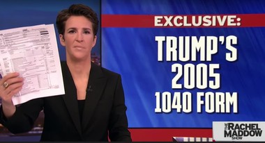 "Rachel Maddow revealed President Donald Trump's 2005 tax return, shared by David Cay Johnston, on ""The Rachel Maddow Show"" Tuesday, March 14, 2017."