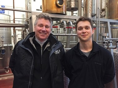 Ed Brennan, left, general manager of Beak and Skiff Apple Orchards and 1911 Established spirits, and Joe Bergan, the 1911 distiller, in the stillhouse on Route 20, just east of Route 80. The distillery is making its first bourbon, to be aged and then released in 2020.