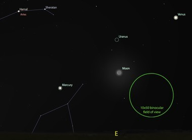 Mercury, Venus, a thin crescent Moon, and even possibly Uranus on the morning of May 23.