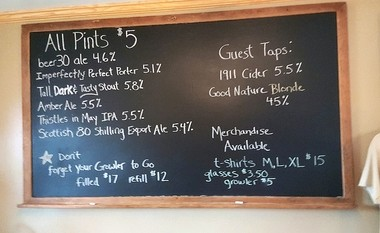 The beer menu board at Bullthistle Brewing Co. in Sherburne, Chenango County.