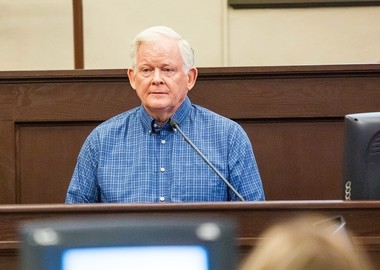 William Yoder, husband of slain chiropractor Mary Yoder, testifies in Oneida County Courthouse in Utica on Friday, April 28, 2017. Kaitlyn Conley is accused of fatally poisoning Mary Yoder in 2015. N. Scott Trimble | strimble@syracuse.com