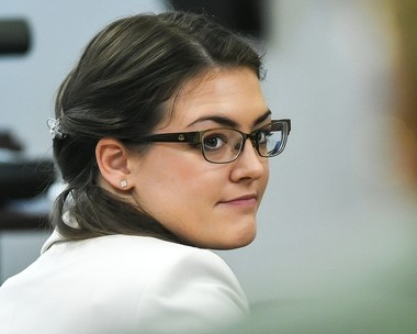 Kaitlyn Conley looks back during a break in testimony by William Yoder, husband of slain chiropractor Mary Yoder, in Oneida County Courthouse in Utica on Friday, April 28, 2017. Conley is accused of fatally poisoning Mary Yoder in 2015. N. Scott Trimble | strimble@syracuse.com