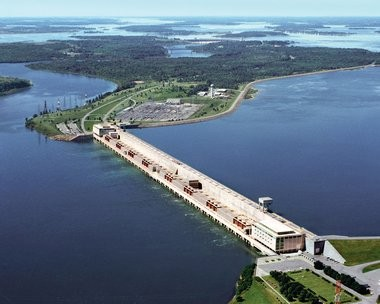 Aerial photo of the Robert Moses-Robert H. Saunders Power Dam on the St. Lawrence River. The dam's 32 turbine-generators are divided equally by the international border and are operated independently by the N.Y. Power Authority and Ontario Power Generation.