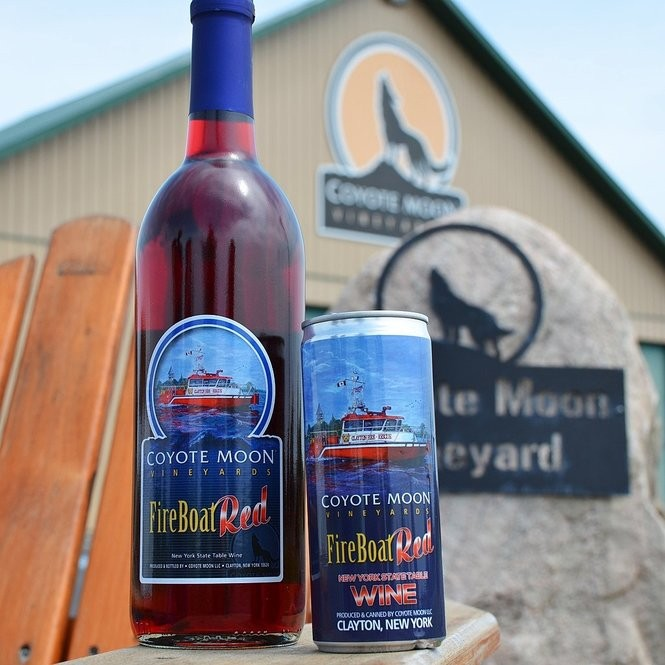 Wines at Coyote Moon Vineyards in Clayton, N.Y. come in both bottles and cans.