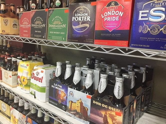 Imported beers on the shelves at Party Source Beverage Center, 2646 Erie Blvd. E. in Syracuse.