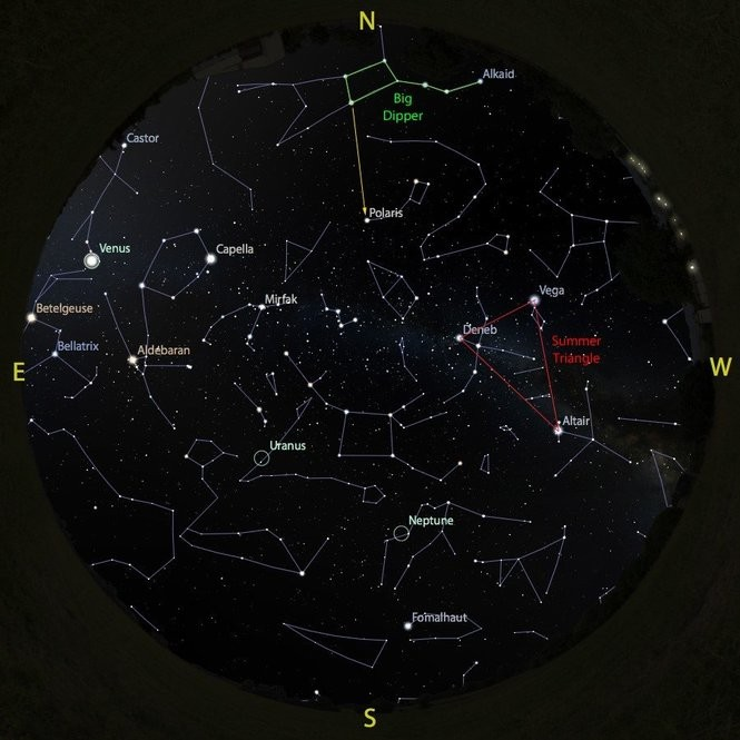 The sky at 4 a.m. from July 28 to Aug. 4, accurate all week except for the changing Moon position.