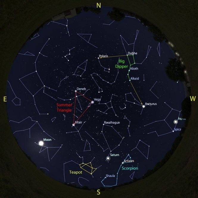 The sky at 10 p.m. from Aug. 4 to 11, accurate all week except for the changing Moon position.